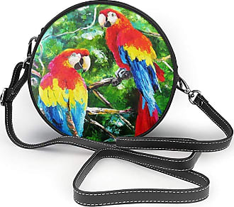 Turfed Oil Painting Lark Print Round Crossbody Bags Women Shoulder Bag Adjustable PU Leather Chain Strap and Top Zipper Small Handbag Handle Tote