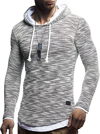 LEIF NELSON Mens Hoodie Pullover Hood Sweater Sweatshirt LN-8179 Dark Blue XX-Large