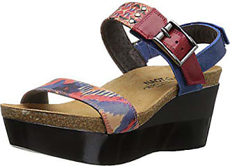 Naot Womens Alpha Print Wedge Sandal, Blue/Red, 39 EU/8 M US