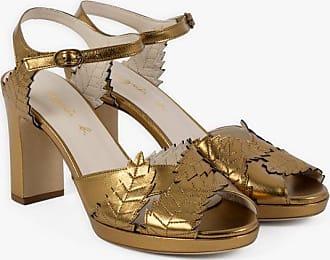 agnès b. bronze leather leaves sandals