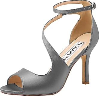 Elegantpark HP1565 Wedding Sandals for Women Peep Toe Wedding Shoes High Heels Ankle Strap Buckle Satin Evening Bridal Party Shoes Steel UK 8(EU 41)
