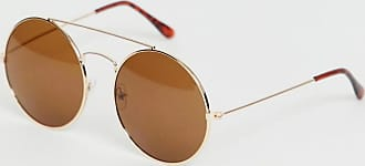 7X SVNX round sunglasses in gold with brow bar