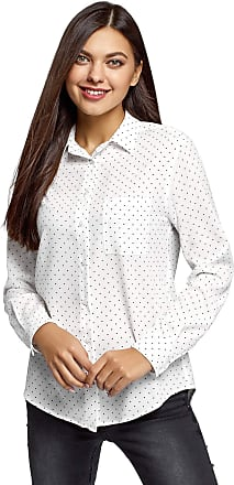 oodji Womens Straight-Fit Blouse with Chest Pocket, White, UK 10 / EU 40 / M