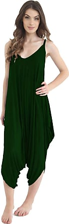 ZEE FASHION Ladies Womens Plain Ali Baba Harem Suit Cami Strappy Lagenlook Dress Oversized All in One Jumpsuit Bottle Green