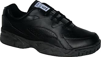 Northwest Territory WIDE FITTING MENS TRAINER, LEATHER UPPERS WITH NONE SLIP SOLE BLACK 11