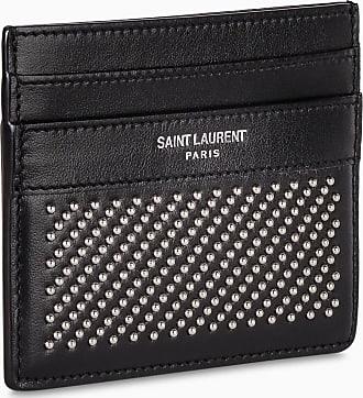 Saint Laurent Portacarte nero con borchie