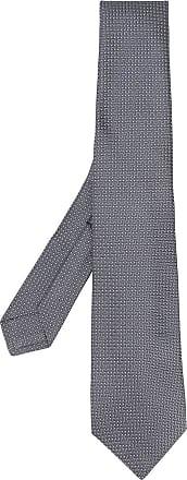Kiton Gravata cinza com estampa geométrica