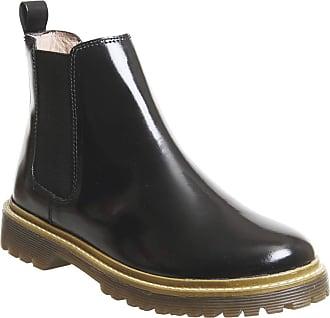 Office Ali- Ribbed Sole Chelsea Black High Shine Leather - 6 UK