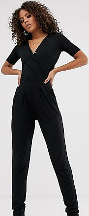 Asos Tall ASOS DESIGN Tall wrap front jersey jumpsuit with short sleeve-Black