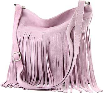 modamoda.de T145 - ital shoulder bag fringed suede, Colour:T145 Pale Pink