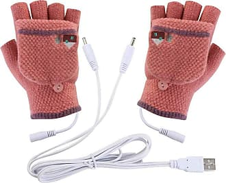 iShine Heated Gloves, USB Powered Fingerless Gloves Knitted Wool Heating Heated Gloves Hand Warmer Mittens For Winter Office Computer Gloves