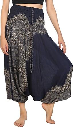 Lofbaz Womens Peacock Smocked Waist 2 in 1 Harem Jumpsuit Pants Dark Blue XL