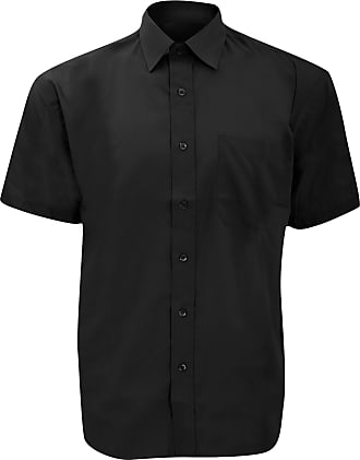 Russell Athletic Russell Collection Mens Short Sleeve Poly-Cotton Easy Care Poplin Shirt (18) (Black)
