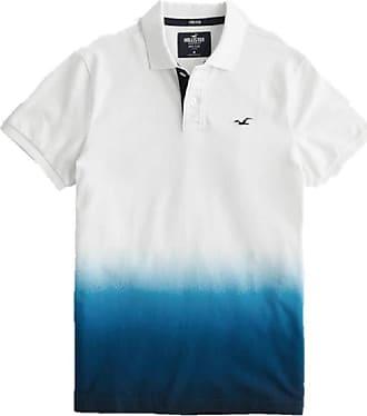 Hollister New Stretch Ombré Polo Shirt White Blue Men SZ Small/S