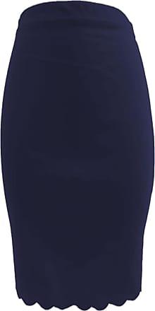 The Celebrity Fashion Women Scallop Edge Wet Look Bodycon Knee Length Plus Size Tube Pencil Midi Skirt Navy Blue