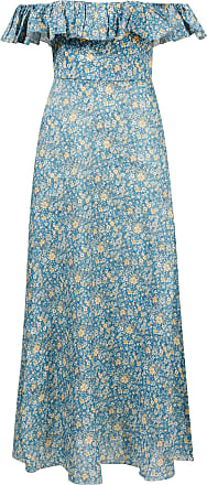 Zimmermann Leinenkleid Carnaby mit floralem Print und Rüschen Blau