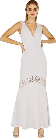 Little Mistress Womens Abbie Plunge Maxi Dress with Lace Insert, Purple (Lilac), (Size:12)