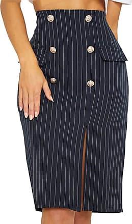 JERFER Women Zipper Stripe Female Button Side Split Party Slit High Waist Skirt S-XL Dark Blue Skirt