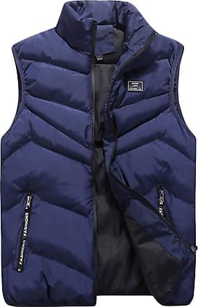 ZongSen Mens Fall and Winter Lightweight Down Puffer Gilet Quilted Jacket Body Warmer Sleeveless Coat Blue 2XL