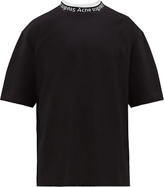 Acne Studios Extorr Logo-collar Jersey T-shirt - Mens - Black