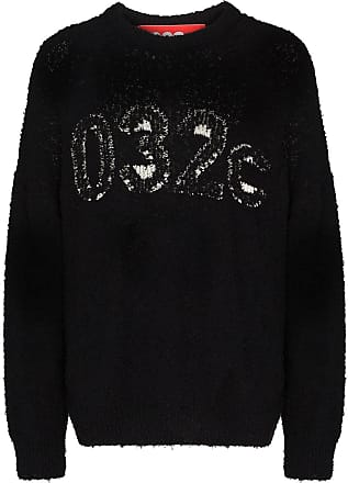 032c textured logo knitted jumper - Black