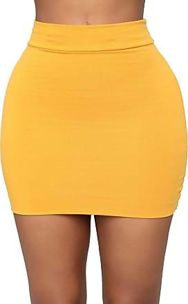 The Celebrity Fashion New Womens Jersey High Waist Bodycon Mini Skirt Elasticated Short Skirts UK 8-14 Mustard