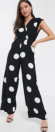River Island wide leg jumpsuit in oversized spot print-Black