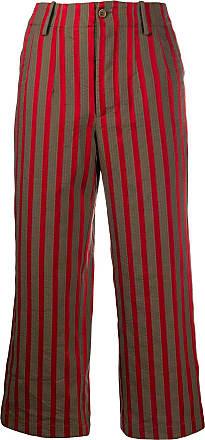 Uma Wang cropped striped print trousers - Brown