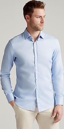 Hackett Mens Contrast Trim Cotton Shirt | Large | Sky
