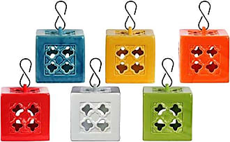 Urban Trends Collection Urban Trends Ceramic Square Tea Light Lantern with Metal Hook in LG Gloss Finish (Assortment of 6), Yellow Green/Red/Orange/Amber/White/Teal