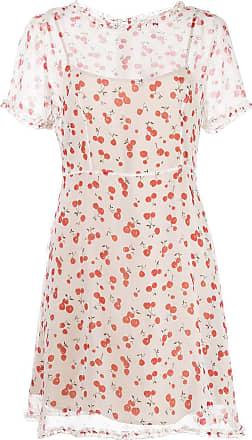 HVN Natalie cherry print mini dress - Branco