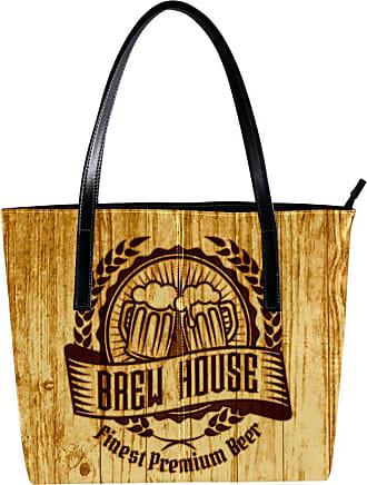Nananma Womens Bag Shoulder Tote handbag with Creative Beer Stamped Woodgrain Background Print Zipper Purse PU Leather Top-handle Zip Bags