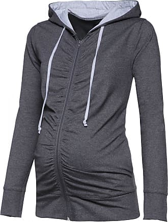 Happy Mama Womens Maternity Hoodie Sweatshirt Zip Front Long Sleeves. 263p (Graphite Melange & Light Grey Melange, UK 8, M)