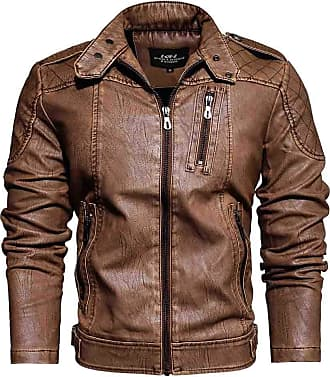 JERFER Men Casual Solid Color Stand Jacket Zipper Long Sleeve Coats Outwear Blouses Yellow