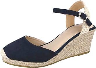 Lora Dora Womens Hessian Wedge Sandals Espadrilles Navy 6 UK