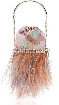 Rosantica Viola Feather-Embellished Jacquard Top Handle Bag