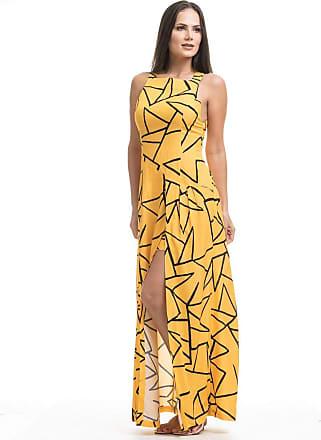 Clara Arruda Vestido Clara Arruda Longo Costa Detalhe 50462-40 - Grafico Amarelo