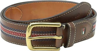 Tommy Hilfiger Mens Casual Belt, Tan/Navy/Red, 34