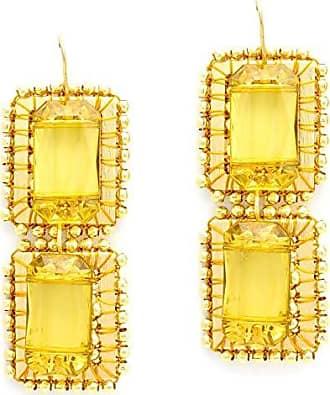 Tinna Jewelry Brinco Dourado Retângulos Caseados Com Bolinhas E Pastilha de Resina (Amarela)