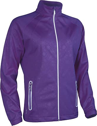 Glenmuir Ladies LW2586ZT Water Repellent Embossed Patterned Zip Front Performance Jacket Royal Purple XXL