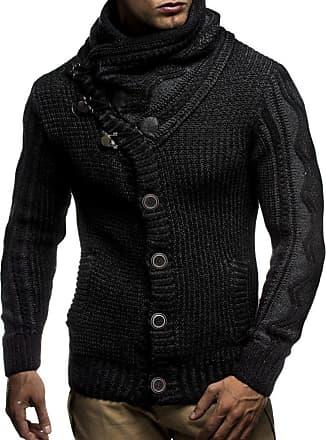 LEIF NELSON Men Cardigan Jacket Shawl Collar LN-5065 Black Medium