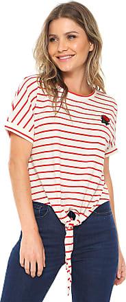Vero Moda Blusa Vero Moda Listrada Bege/Vermelho