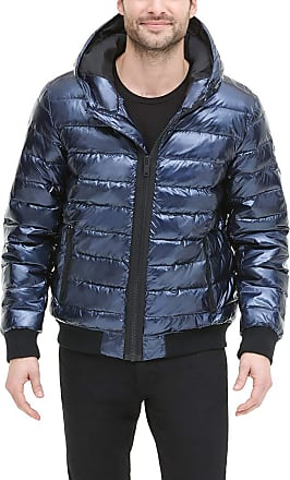 DKNY Mens Quilted Performance Hooded Bomber Jacket Down Alternative Coat, Navy Pearlized, Large