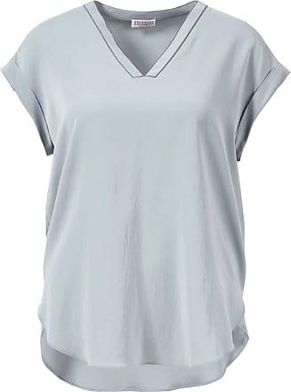 Brunello Cucinelli Seiden-Shirt mit Perlenverzierung Salbei