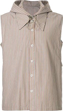 Necessity Sense Camisa listrada com capuz - Marrom
