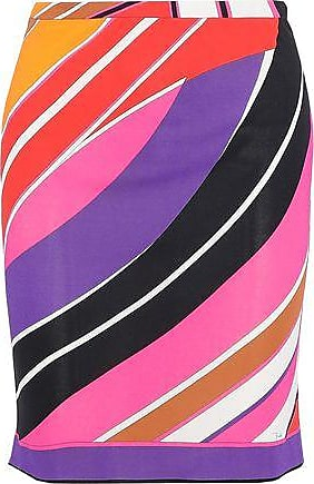 Emilio Pucci Emilio Pucci Woman Printed Jersey Mini Pencil Skirt Purple Size 38