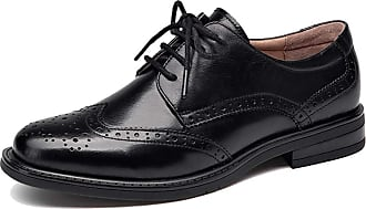 MGM-Joymod Womens Brogues Perforated Lace-up Wingtip Leather Flat Vintage Pure Color Oxfords Shoes (Style1 Black) 5 M UK