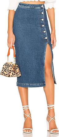 Free People Jasmine Buttoned Midi Skirt in Denim Blue