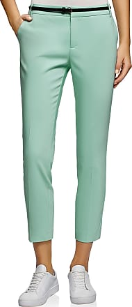 oodji Collection Womens Cropped Belted Trousers, Green, UK 16 / EU 46 / XXL