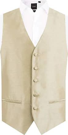 Dobell Mens Gold Waistcoat Regular Fit Dupion 5 Button-2XL (50-52in)